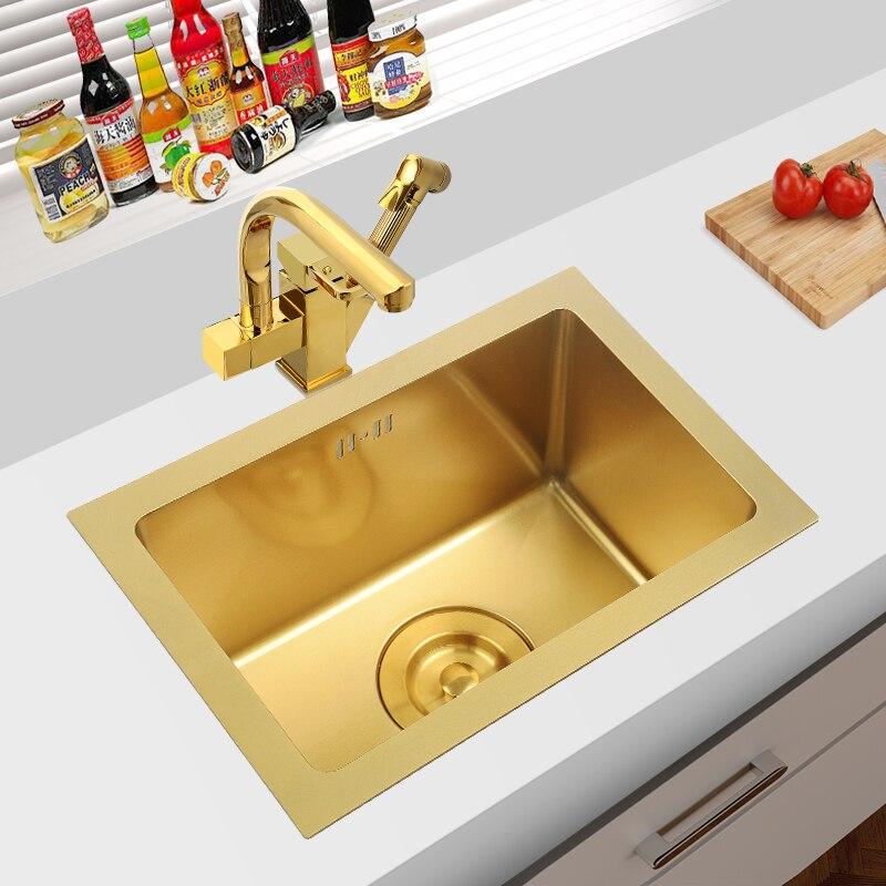 وعاء مطبخ مفرد من الفولاذ المقاوم للصدأ ، أواني مطبخ مربعة مقاس 45 سنتيمتر ، حامل سفلي أو مثبت