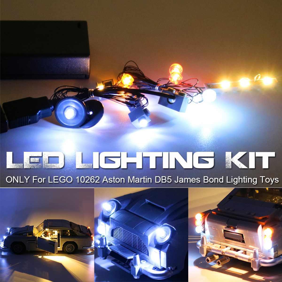 Kit de iluminación de luz LED 10262 Aston DB5 para James para juguetes de ladrillos de iluminación Bond con caja de almacenamiento (modelo no incluido)