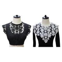 luxury embroidered floral lace neckline fake collar dress shawl applique wedding bridal scarf shrug cape sewing patches