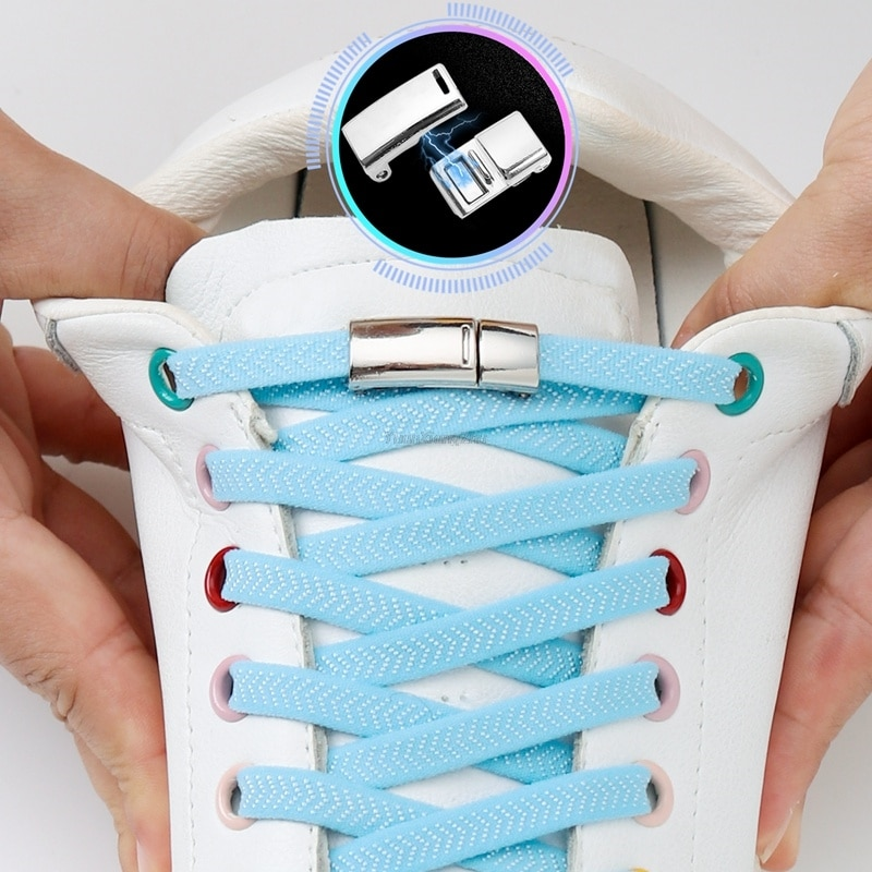 Magnetic Shoelaces for Sneakers Elastic Laces without ties No Tie Shoe laces Rubber Bands Kids Adult Quick Flat Boot Shoe lace