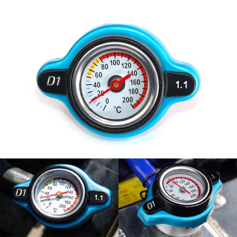 Tapa de radiador térmico de estilismo de motocicleta para vehículo, cubierta de tanque, medidor de temperatura de agua con utilidad segura 0,9 Bar/1,1 Bar/1,3 Bar