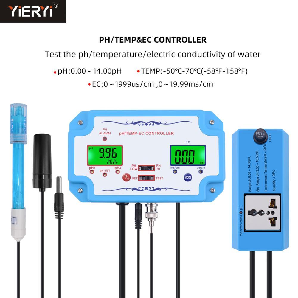 مقياس درجة الحموضة/EC/درجة الحرارة عبر الإنترنت ، كاشف جودة المياه ، وحدة تحكم pH ، مرحل ، قطب كهربائي قابل لإعادة الملء ، مسبار من نوع BNC ، قابس ...