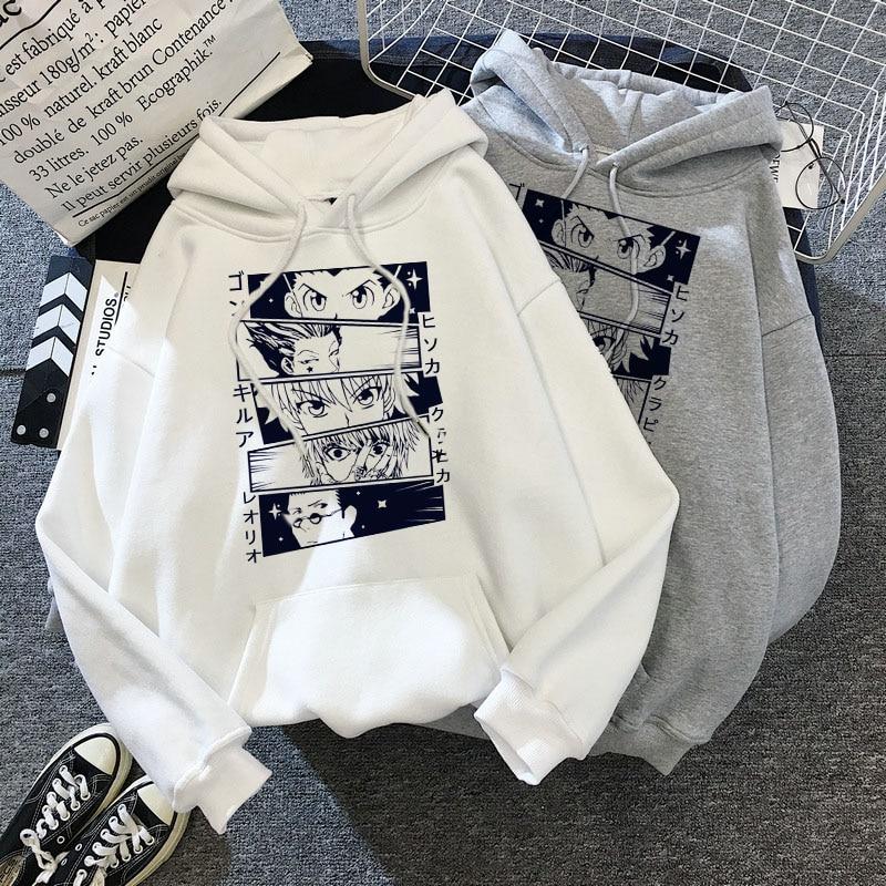 Kawaii Hunter X Hunter Hoodies Men Women Short Sleeve Sweatshirt Killua Zoldyck Anime Manga Black Hoodies Bluzy Tops Clothes