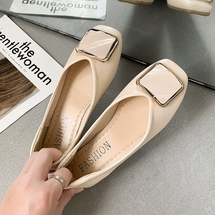 Buckle Korean Shoes Female Footwear Square Toe  Clogs Platform Women's Heels Casual Sneaker 2021 spring Dress Creepers On Heels