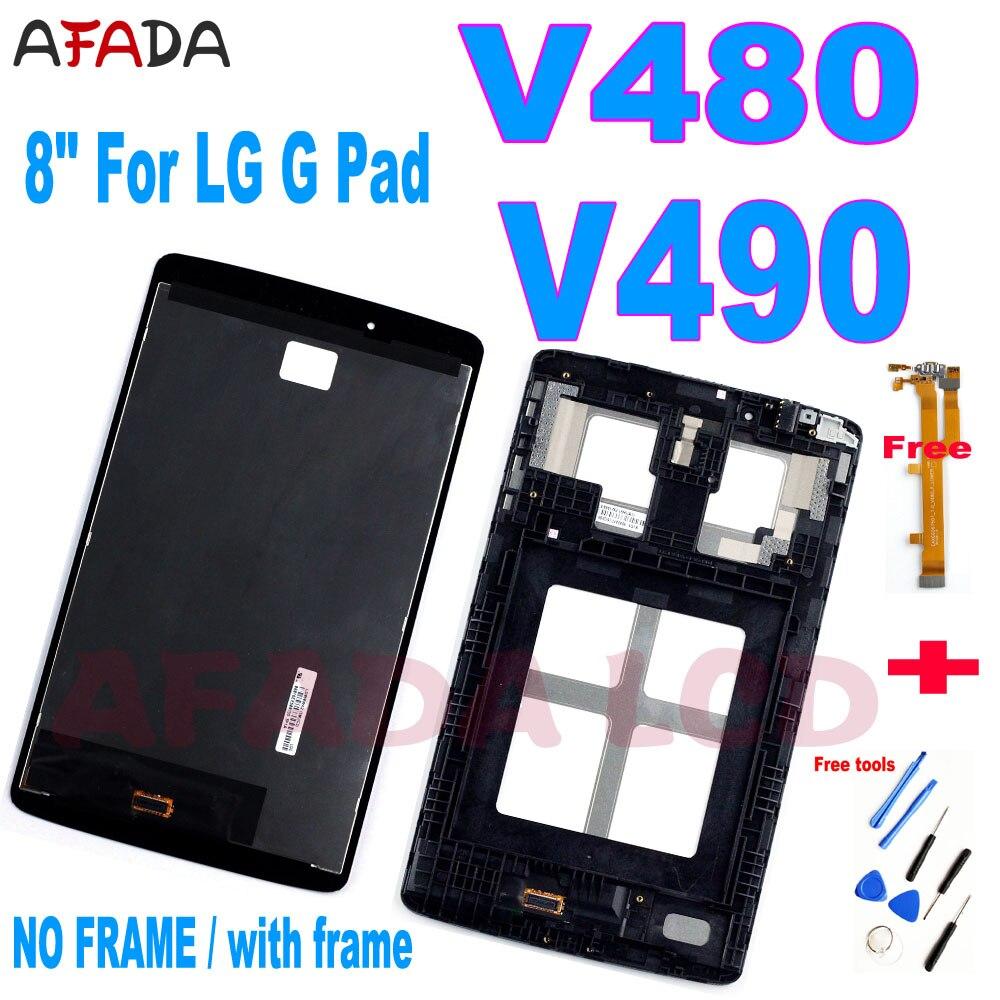 "8 ""para lg g pad v480 v490 lcd, display touch screen, digitalizador, peça para lg v480 lcd + cabo flexível,"