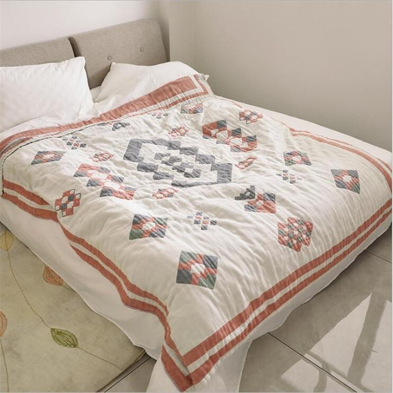 200*230cm 4 camadas de musselina algodão ar condicionado quarto dormir cobertura cama cobertor verão bebê adulto viagem respirável cobertor do carro