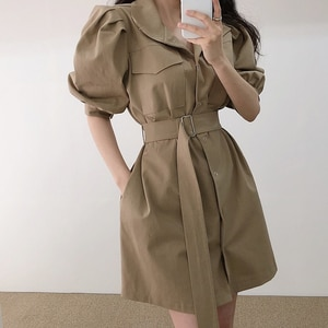 Summer Casual Women's Vintage Dress 2021 Robe Solid Color Lapel Waist Puff Sleeve Tooling Dress With Belt Female Korean Clothing