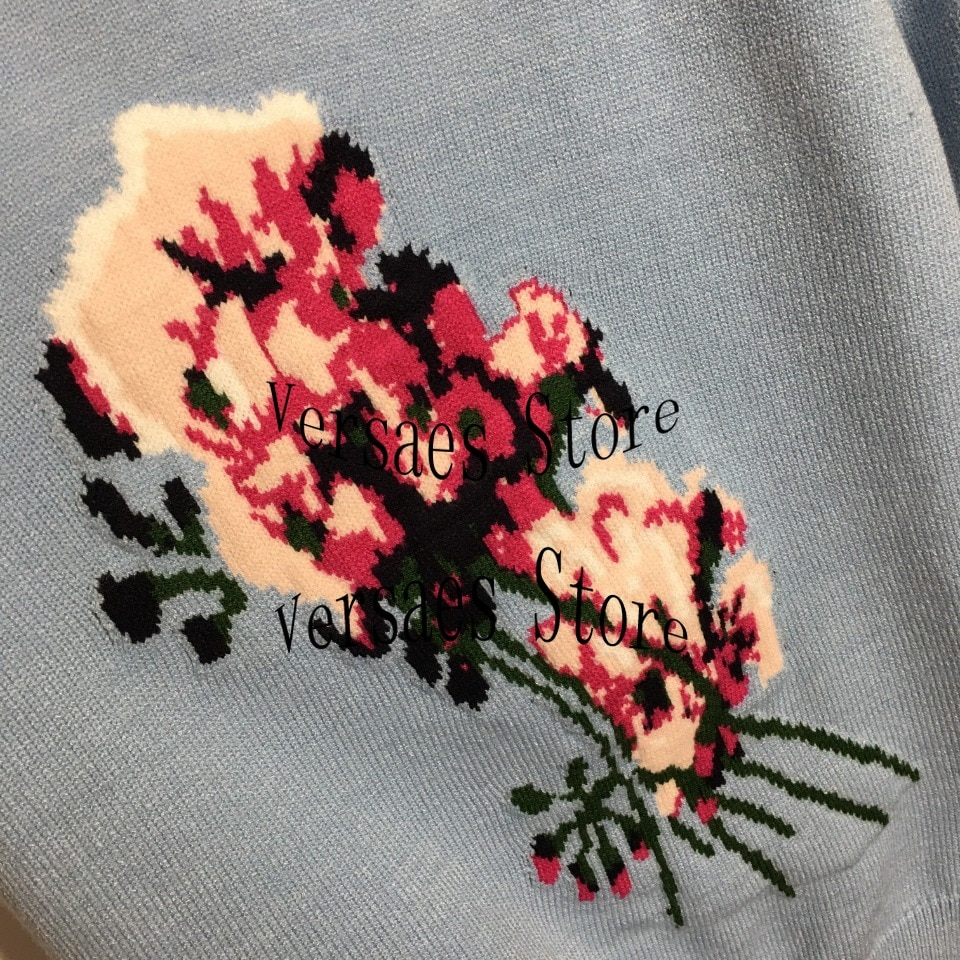 2021 luxury design flower jacquard fashion women's Lantern long sleeve sweater high-end temperament versatile Pullover Sweater enlarge