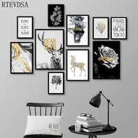 black gold nordic luxury canvas animal plant poster art painting home decoration retro art printing living room wall decoration