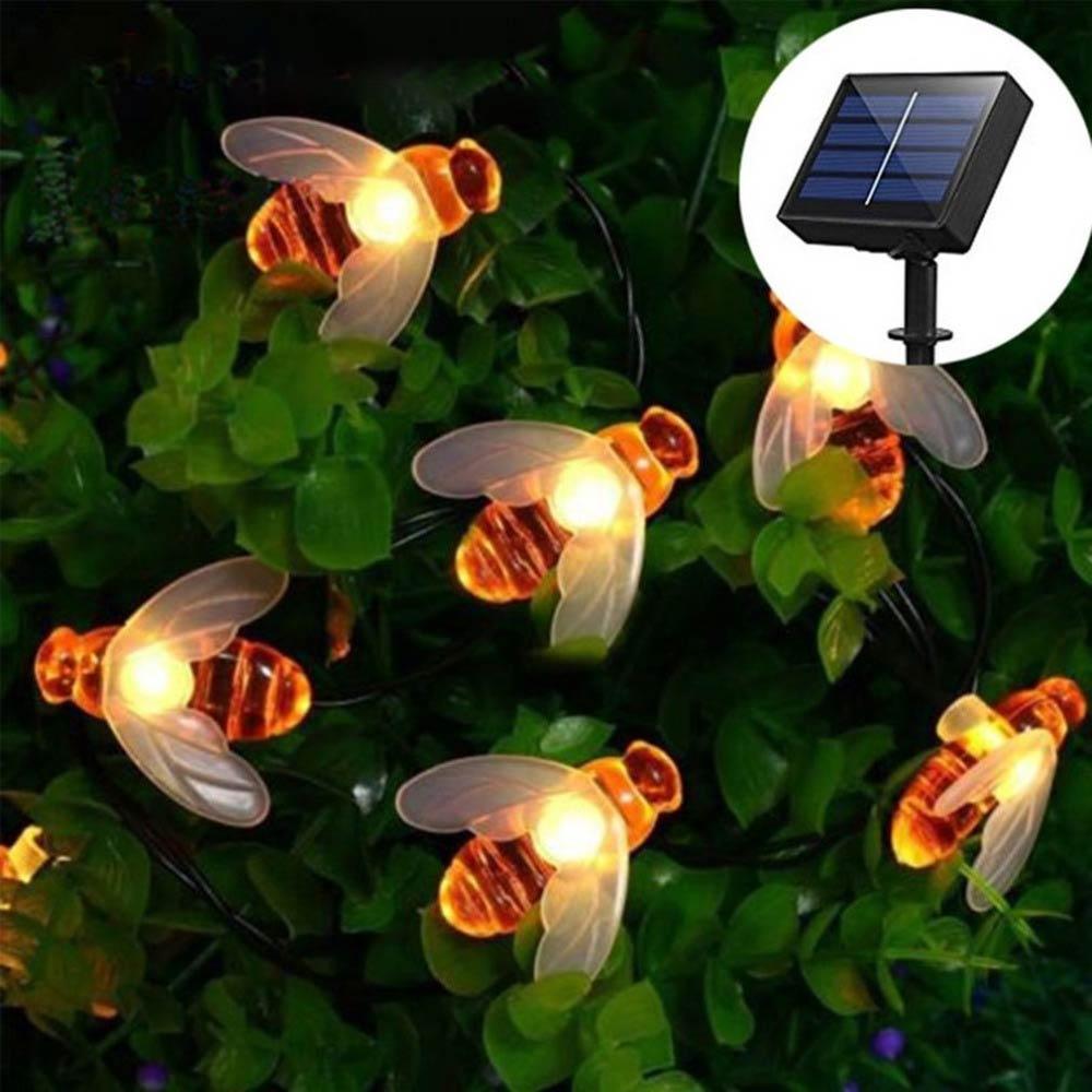 Solar Powered Cute Honey Bee Led String Fairy Light 20leds 50leds Bee Outdoor Garden Fence Patio Christmas Garland Lights недорого