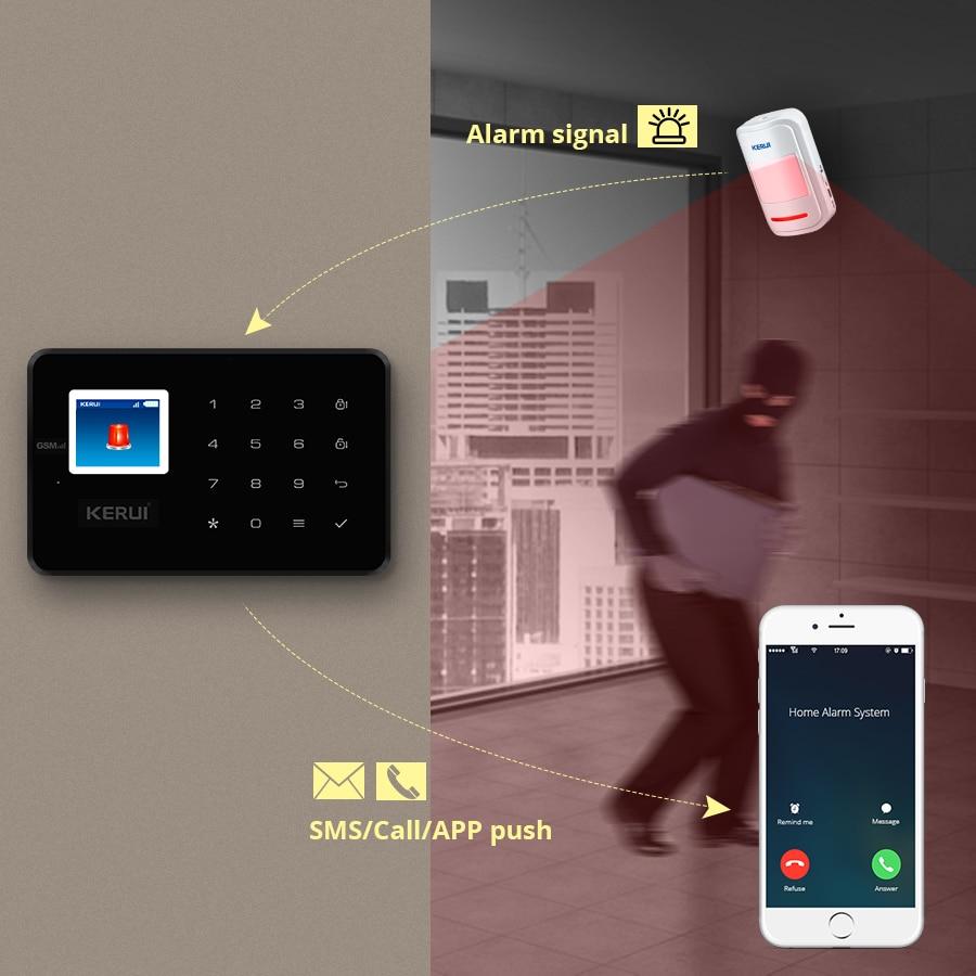 KERUI Smart Home Alarm System G18 GSM Wireless Connections App Control 433MHZ Frequency Black Host Smoke Sensor Door Sensor Kit enlarge