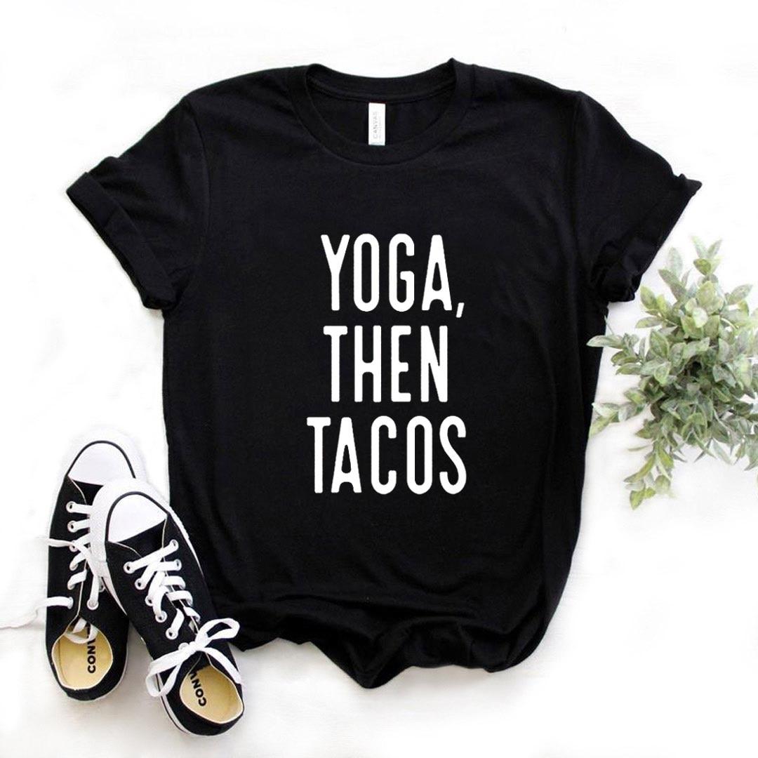 Camiseta de Yoga con estampado de letras para Mujer, blusa holgada de...