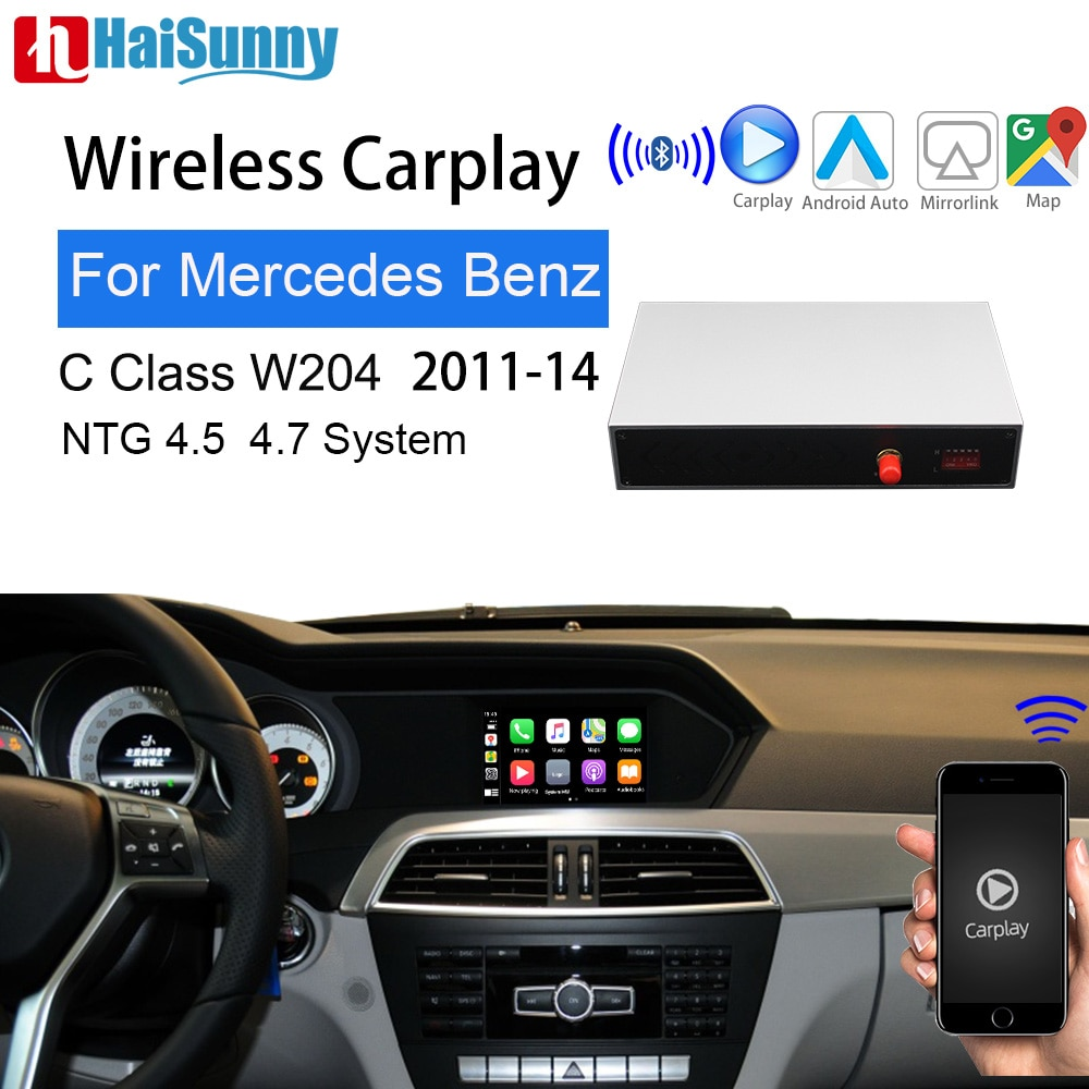 Get Wifi Wireless OEM Carplay For Mercedes C Class W204 2011-14 Support multimedia iOS/Android Auto Mirroring Maps Car Video Screen