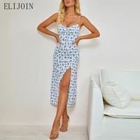 elijoin dress2021 summer loose skirt va va voom floral fold lace up split suspender dress summer