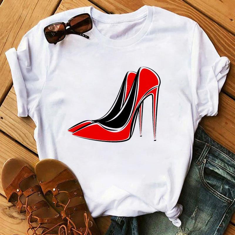 Camiseta blanca para mujer, moda de Zapatos de tacón alto, camiseta de...