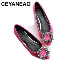 CEYANEAOWomen chaussures grande taille 34 ~ 45 cristal strass chaussures plates bateau femmes rose violet Ballet mocassins en cuir véritable plat