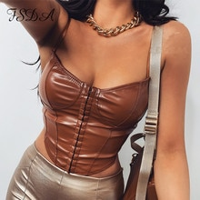 FSDA sans manches en cuir Pu haut court femmes été 2021 Spaghetti sangle noir Corset pansement Sexy fête débardeur dos nu Club
