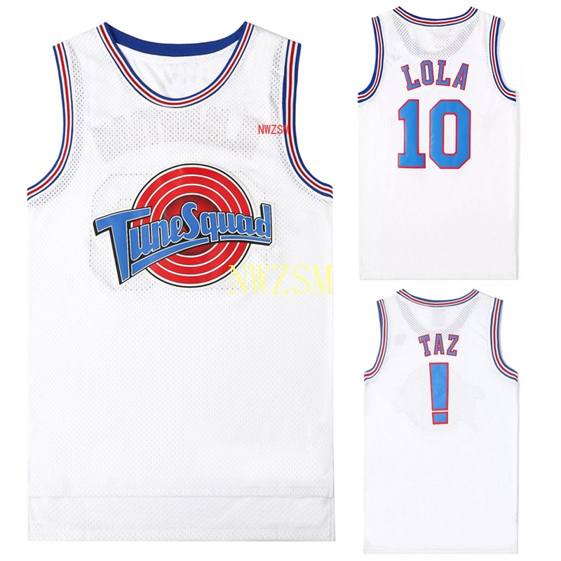 Movie Cosplay Costumes Space-Jam Tune-Squad #1 BUGS #10 LOLA Bunny Basketball Team Jersey Stitched Number Tops Sports Uniform