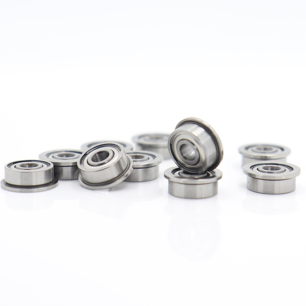 FR2ZZ Flange Bearing 3.175x9.525x3.967 mm10 PCS Inch Flanged ABEC 1 FR2 Z ZZ Ball Bearings enlarge
