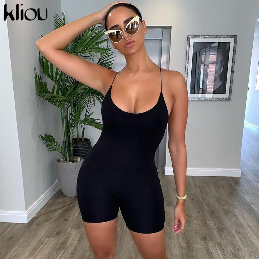 kliou black Skinny Spaghetti Strap sleeveless Street woman Rompers classic bar club Bodycon jumpsuits body femme hot printio boroda club black classic