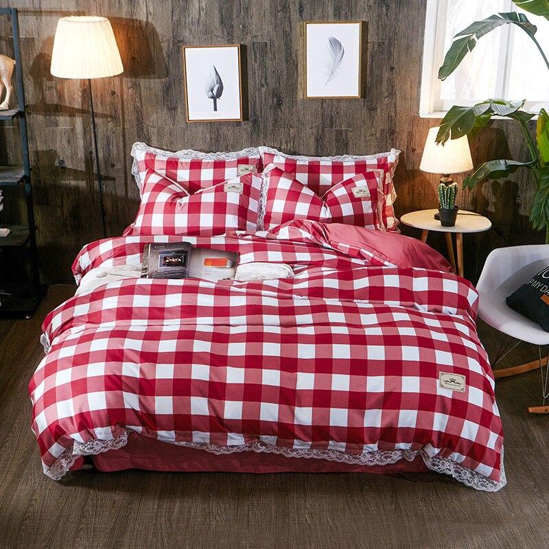 Funda de edredón de encaje estilo coreano funda de almohada sábana de cama de 4 piezas de lino a cuadros pasta de frijol dejar Zebra fruta