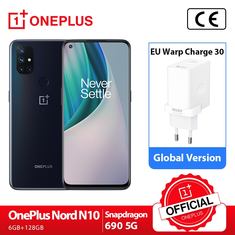 OnePlus Nord N10 5G OnePlus Official Store Глобальная версия 6 ГБ 128 Snapdragon 690 смартфон 6,49 90 Гц FHD + безрамочный экран с Дисплей 64MP Quad камеры Warp заряжайте 30T NFC; код: ...