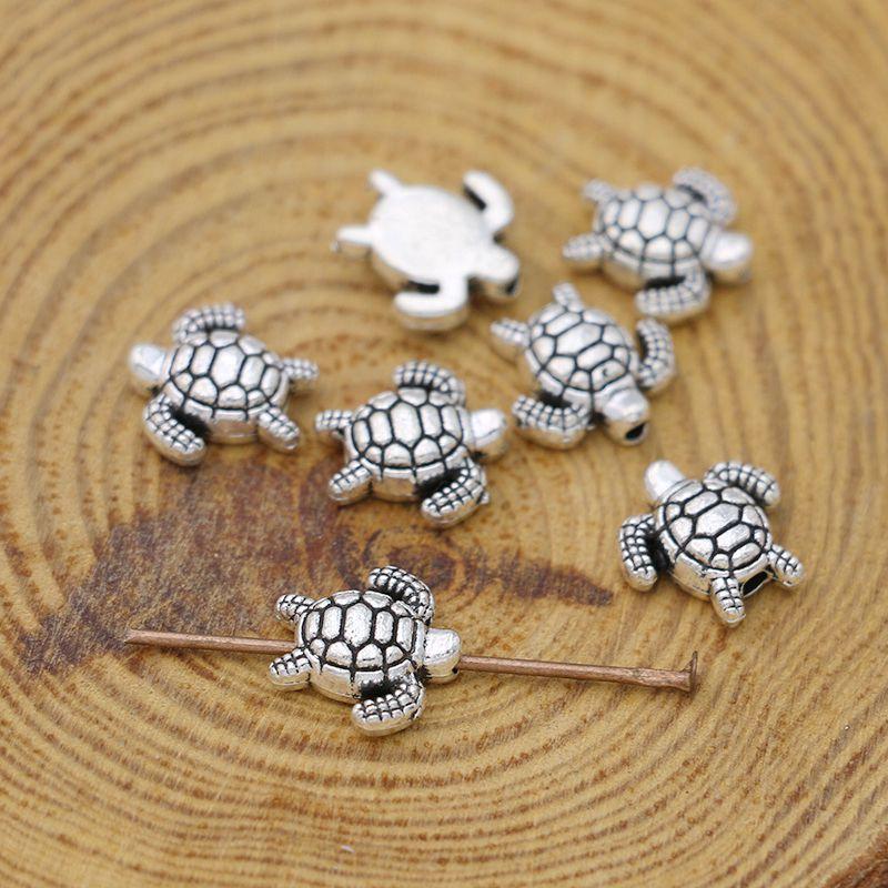 Посеребренные бусины в виде черепахи под старину, 25 штук, для изготовления ювелирных изделий, ожерелий, браслетов, аксессуаров «сделай сам»