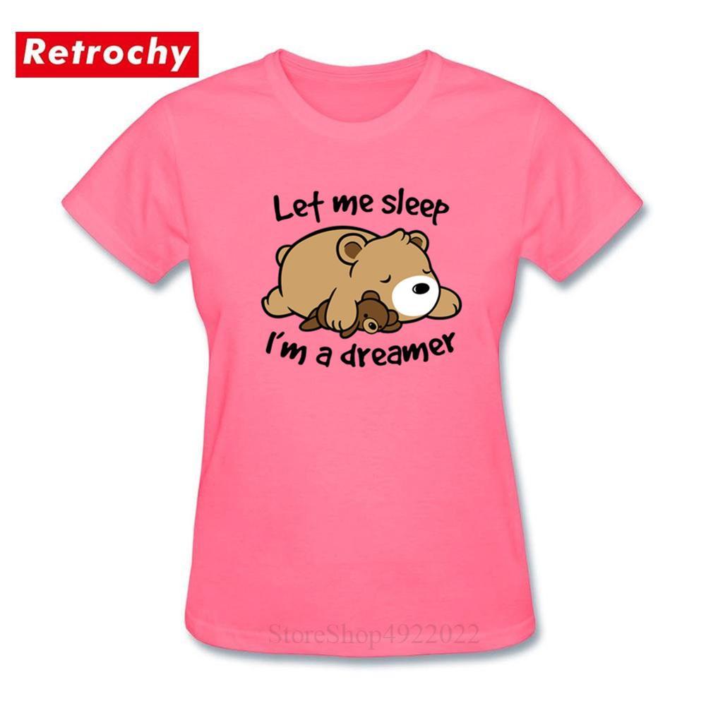 Kawaii Dreamer Bear T shirt Casual Cartoon Printed Ladies Camiseta lindo mapache manga corta algodón cuello redondo Camiseta femenina Camiseta