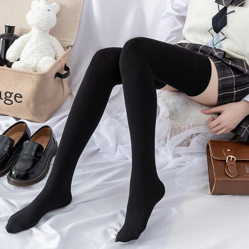 Черные чулки до бедра, женские пикантные длинные носки, женские длинные чулки, однотонные нейлоновые носки, милые женские гольфы для коспле...