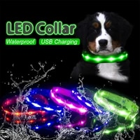 ipx7 waterproof led dog collar 200mah usb charging collar for dogs puppies at night anti lost lead pet products dog accessories