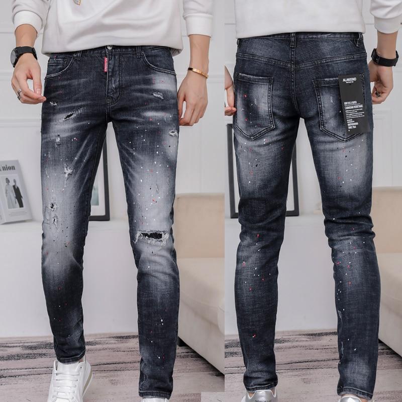 Новые джинсы высокого качества в европейском стиле преступник D2 итальянские брендовые джинсы с эластичной резинкой на джинсы брюки каранд...