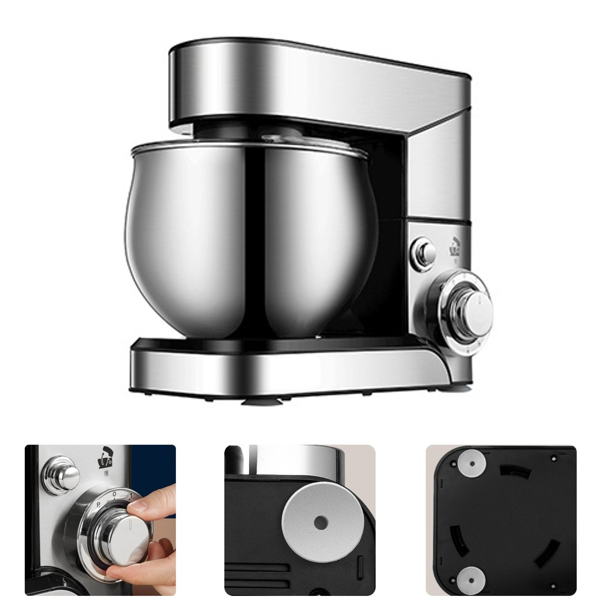 zhoutu 2 in 1 stand mixer 5 speeds electric mixer hand mixer with 3 5l stainless steel mixing bowl whisk beaters 1200W 5L 6-speed Kitchen Food Stand Mixer Stainless Steel Bowl Home Cream Egg Whisk Blender Cake Dough Bread Mixer Maker Machine
