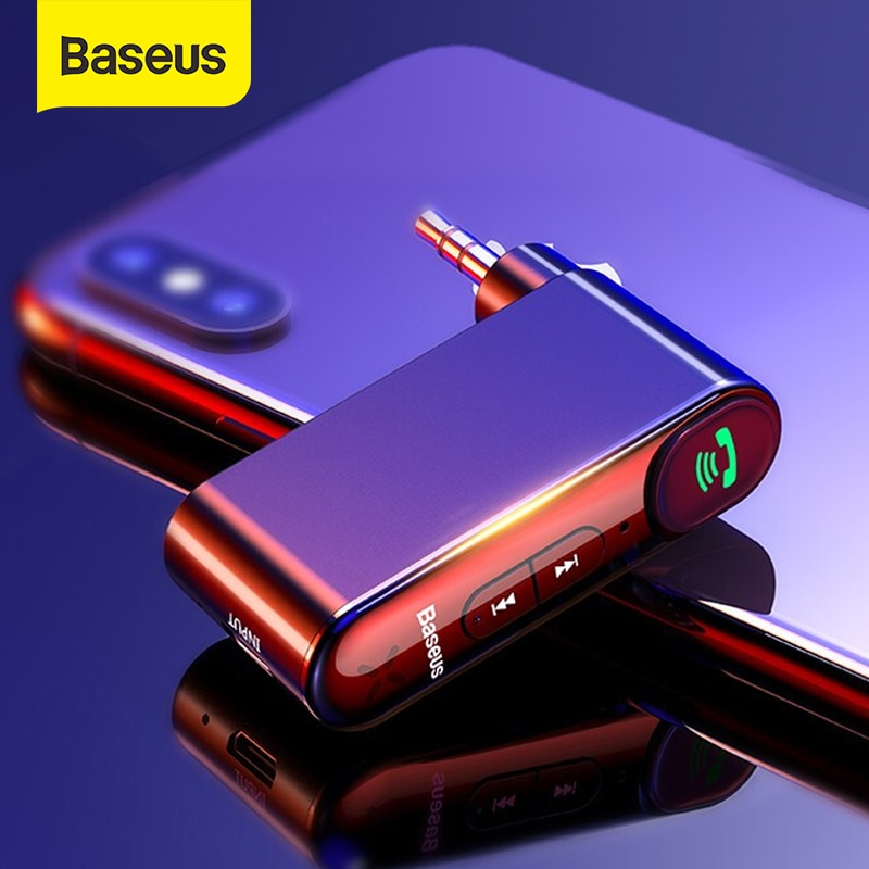 Baseus AUX Car Bluetooth Receiver 3.5MM Jack Audio Music Bluetooth 5.0 Car Kit Wireless Handsfree Sp
