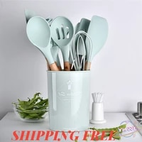 silicone kitchenware cooking utensils heat resistant kitchen non stick cooking utensils kitchen baking tools with storage box