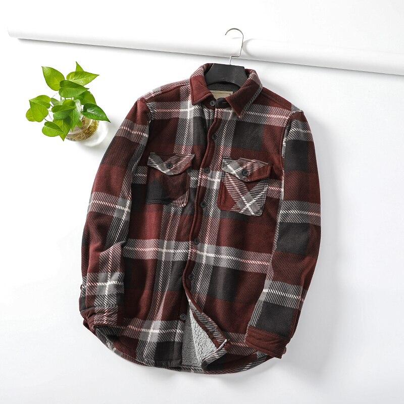 Good quality!Men's autumn winter lambs wool casual shirt male plaid slim youth men long sleeve warm shirt