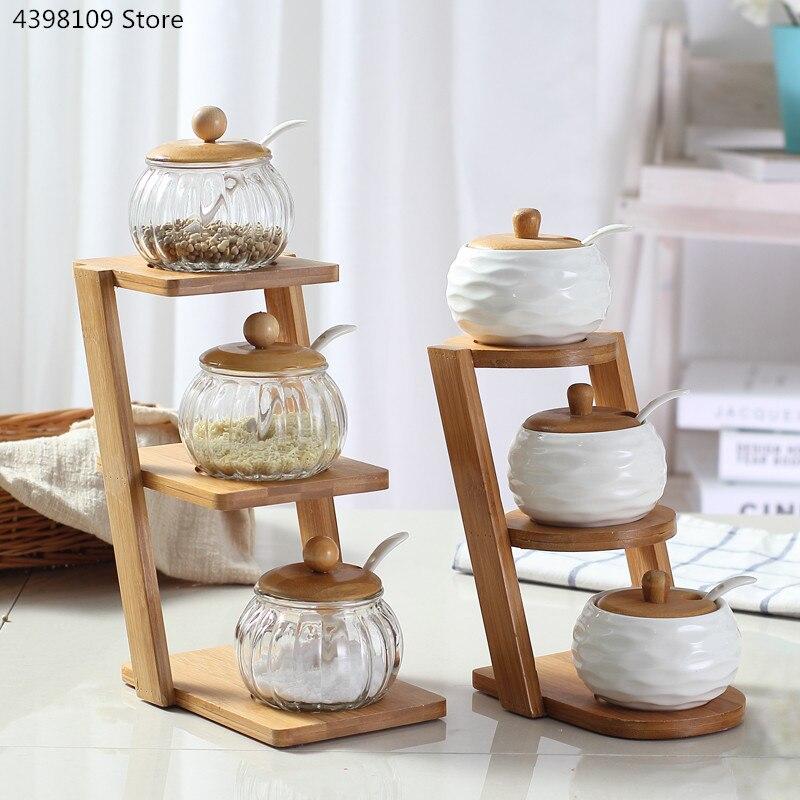 مجموعة من 3 قطع من أواني المطبخ المصنوعة من خشب البامبو ، وعاء توابل سيراميك ، إبريق زجاجي ، أواني مطبخ ، أواني توابل