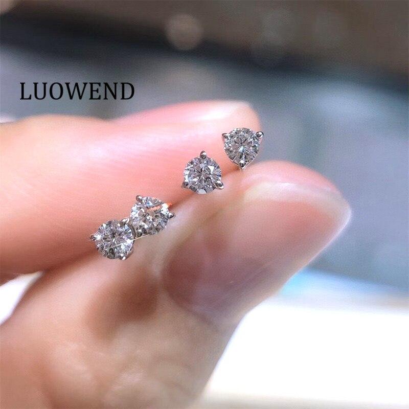 LUOWEND 100% 18K Solid White Gold Earrings (AU750) Women Stud Earrings Real...