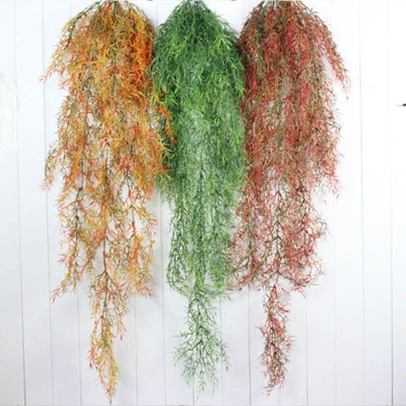 2Pcs Artificial Plant Hanging Rattan Long Sea Carnation DIY Home Decoration Artificial Hanging Plant Basket Rattan