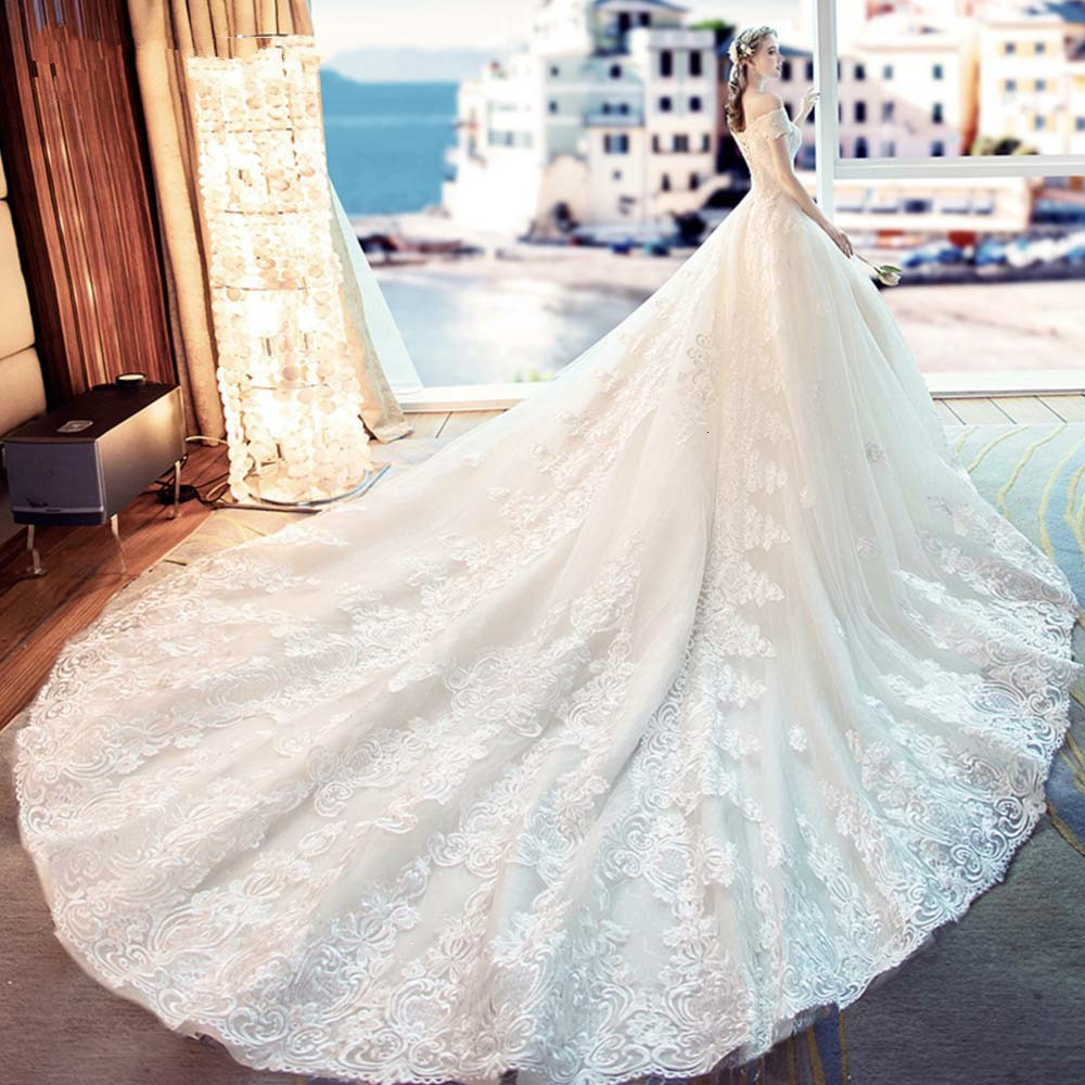 Robe de mariée sable Orange dentelle robe de mariée 2019 Train grande taille