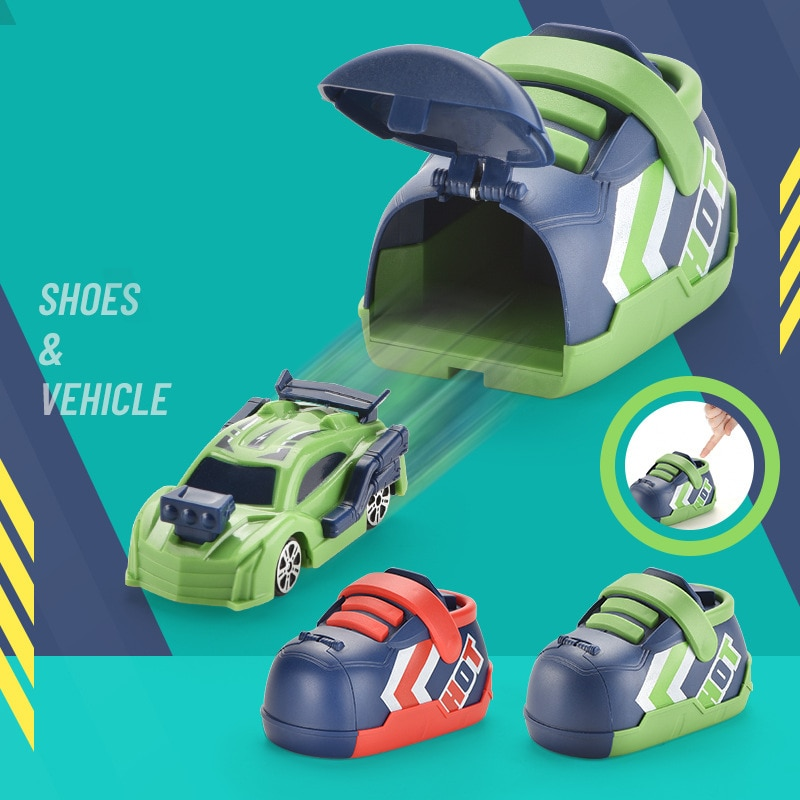 Chaussures de course à éjection pour enfants, jouet créatif de voiture à inertie, petit Bus, cadeau d'halloween