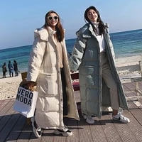 2021 new womens oversize over knee long warm coat vintage winter cotton padded jacket korean mid length winter down parkas
