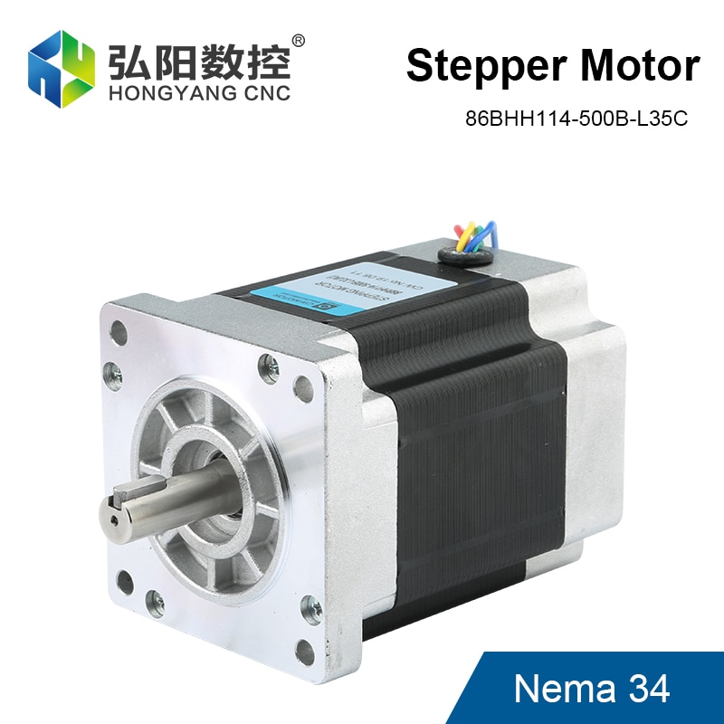 محرك متدرج Nema 34 ، 2 طور 5.0A ، قطر عمود 14 مللي متر ، محرك 86BHH114-500B-L35C ، 4 رؤوس ، طابعة ثلاثية الأبعاد