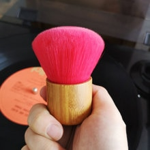 Outil dentretien de brosse de nettoyage disque vinyle souple LP Mini accessoires poignée en bambou tourne-disque disques Audio portatifs antistatiques