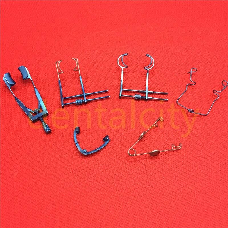 Espéculos de ojo de titanio, hoja de alambre/V, abrelatas de hoja sólido, instrumento quirúrgico oftálmico