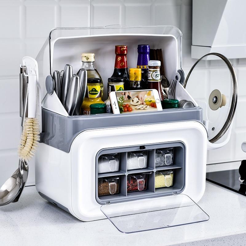 Multifunctional Kitchen Storage Rack Cutlery Spice Seasoning Storage Box Rack Shelf Home Kitchen Storage Organizer Double Layer
