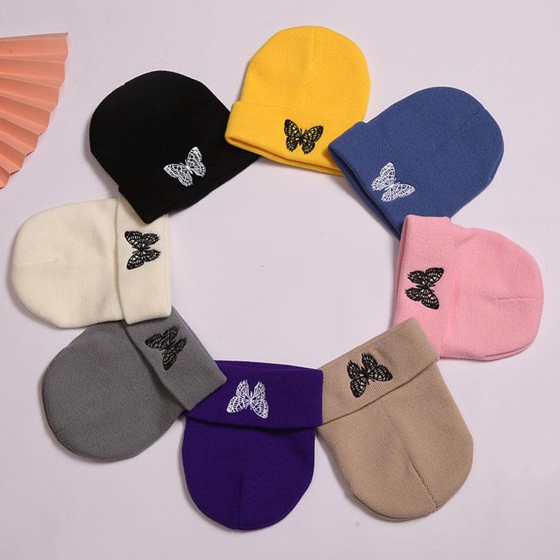Модные вязаные облегающие шапки, шапка с вышивкой бабочки, зимние теплые лыжные шапки, шапки, мягкие эластичные уличные спортивные повседне...