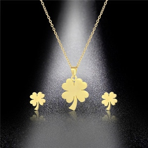 Stainless Steel Lucky Four Leaf Clover Grass Heart Branch Pendant Chain Necklace Sets Choker For Women Collier Femme Jewelry