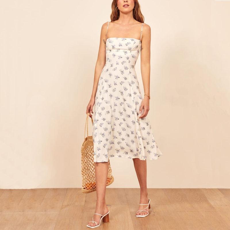 Women casual summer dress flower print dress Slim sling Vestidos