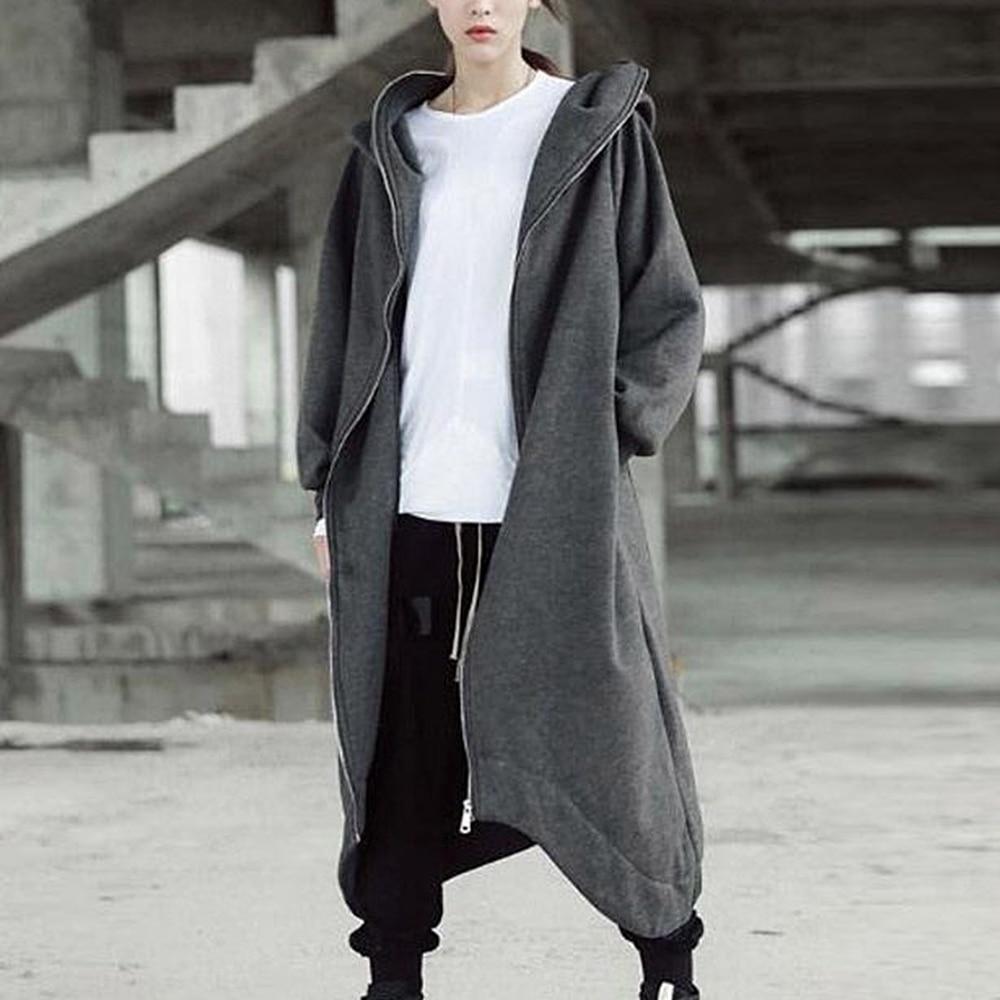 NIBESSER de moda de gran tamaño Chaqueta larga con capucha otoño mujer gris suelta con capucha abrigos largos 2019 con cremallera diseño de talla grande 5XL prendas de vestir
