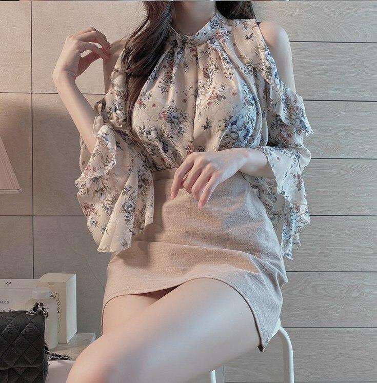 Cute Chic Tops Sweet Girls Holiday Date Wear Women Summer Flhjlwoc Korean Floral Chiffon Ruffled Off Shouler Top Blouse